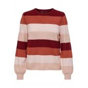 Пуловер ONLKATIA L/S STRIPE PULLOVER CC KNT 15231260-Merlot-Stripes:W. SEPIA ROSE/ROSE SMOKE M ONLY