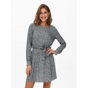 Сукня ONLANE LIFE L/S BELTED DRESS WVN 15242603-Stormy Sea-AOP:CURIOSA DITSY ONLY